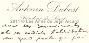 Courrier Antonin Dubost
