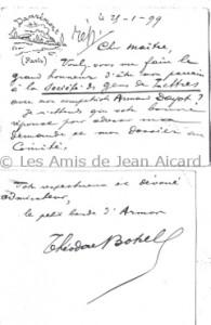 T.Botrel à J.Aicard. Collection Yvonne Chabot-Delplace