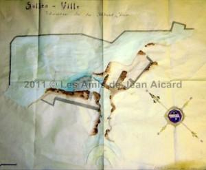 Jean Aicard a dessiné le plan du théâtre dressé sur les ruines du château des Forbin (archives Solliès-Ville)