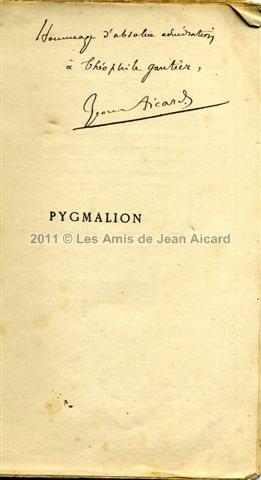 Pygmalion dédicacé à Théophile Gautier, collection André Lovisolo